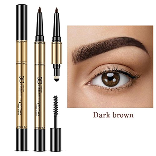 Symeas 3 en 1 Eye Brows Set pour les femmes Waterproof Brow Crayon + Poudre + Brosse Pigment Black Brown Eyebrow Kit