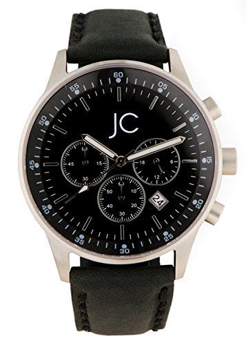 jean constantine men's quartz watch with chronograph, watch with genuine leather strap, black dial, date function, 5 atm water-reistant, black / silver