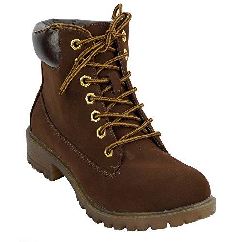 Da donna Con lacci caviglia piatta stivali casual combattere Walking Brown