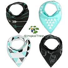 GingkoTree Baberos del Bebé - Paquete de 4 Diseños Pañuelo con Snaps Ajustables, TPU Impermeable Guarnición para niño 0-2 años