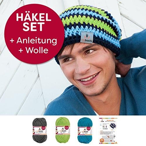 Neu Myboshi Häkel-Set Beanie-Mütze Iga mit 3x 50g myboshi Wolle No.1 + Häkel-Anleitung + selfmade Label in Farben (anthrazit, apfel, türkis, ohne Häkelnadel)