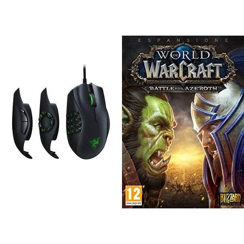 Razer Naga Trinity Mouse da Gaming MOBA/MMO con 3 Pannelli Laterali Intercambiabili, Sensore Ottico 5G da 16 000 DPI, RGB Chroma + World of Warcraft Battle for Azeroth, PC