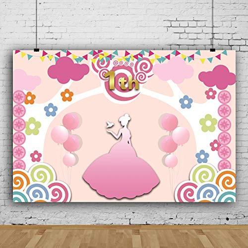 1.Geburtstag Fotohintergrund Kleine Karikatur Rosa Dekor Ballons Lutscher Flaggen Fotoleinwand Hintergrund für Fotoshoot Fotostudio Requisiten Party Baby Photo Booth ()