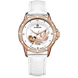 STARKING Women's AL0219RL11 Skeleton Automatic Watch Goldfish Embossment with White Leather Strap