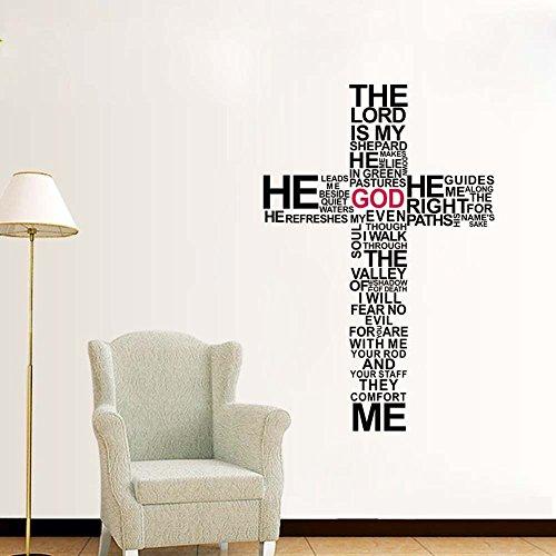 Preisvergleich Produktbild Zooarts Wandsticker,  Jesus-Christus-Kreuz,  Bibel-Zitat