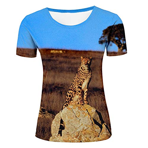 Women 3D Animal Printed T-Shirts Leopard on The Prairie Pattern Casual Short Sleeve Fashion Shirts O-Neck Tees S