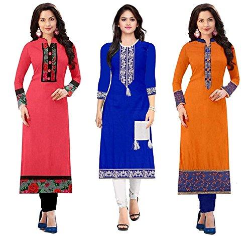 Pramukh Fashion Semi Stichead Pack of 3 Kurtis Combo(1002.1003 1030 a)