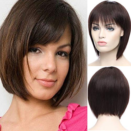 S-noilite - Peluca de pelo humano lacio con flequillo de pelo virgen brasileño, color marrón oscuro...