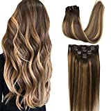 Googoo Clip in Hair Extensions Chocolate Brown to Caramel Blonde Balayage Remy Clip in Human Hair Extensions Straight Natural Hair Extensions Double Weft Real Hair 120g/7pcs 16inch