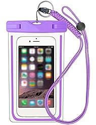 Moolecole impermeable Smartphone caso de la huella digital compatible con bolsa impermeable Bolsa-Touch ID para iPhone 7/7 más / 6s / 6/5 / 5s / Samsung Galaxy S8 púrpura