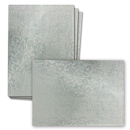 Holographie-Papier DIN A4 | 10 Bogen | Silberhologramm mit floralem Blumenmuster | 210 x 297 mm | Ideales Bastelpapier für Scrapbooking, Grußkarten und Einladungskarten, Dekorationspapier mit Silber-Metallic Hologramm