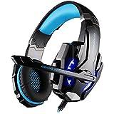 multifun G9000 Gaming Kopfhörer PS4 3,5mm Stereo Gaming Headset PC mit LED Licht Mikrofon In-line Lautstärkeregler für Playstation 4 PC Tablet Smartphone, Schwarz und Blau mit Verpackung