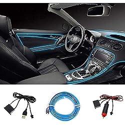 STYLINGCAR Éclairage d'intérieur de voiture LED 12 V 5 m de bande lumineuse EL Wire avec adhésif pour voiture