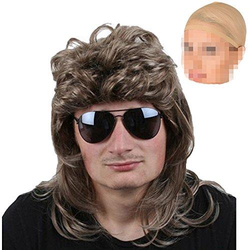 80er Jahre Herren Perücke Vokuhila blond Karneval Fasching Verkleidung Zubehör mit zwei Unterziehhauben