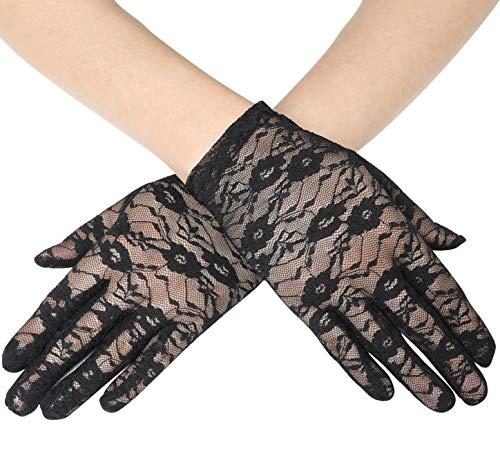 Coucoland Damen Lace Handschuhe Spitze Braut Hochzeit Handschuhe Opera Fest Party Handschuhe Damen Fasching Kostüm Accessoires - Weiße Oder Schwarze Kostüm Handschuhe
