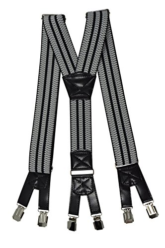 Bretelles de Haute Qualité avec 6 Clips, Extra Fort - 4cm Gris Clair / Noir avec Noir bord