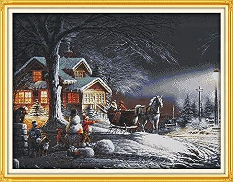 YEESAM ART Neu Kreuzstich Stickpackung - Winter Weihnachten Dämmerung Schnee