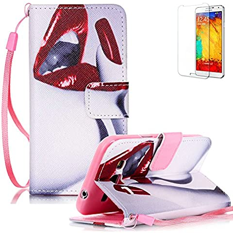 Funyye Custodia Per Samsung Galaxy Core Prime G360 Cover in Pelle Portafoglio [Con Gratis Pellicola Protettiva] Sexy Labbra Disegno Elegante Libro Cordino Stile Copertura Supporto Stand + Porta Carte + Chiusura Magnetica protettivo Caso Samsung Galaxy Core Prime G360 Flip Wallet Case PU Leather Shell Skin Bumper With Hand Strap Lanyard Free Screen Protector