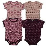 Pippi 4er Pack Kinder Mädchen Body mit Aufdruck, Kurzarm, Alter 2-3 Jahre, Größe: 98, Farbe: Lila, 3820