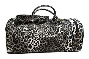 Back to School Dunlop Retro Leather Look Holdall Shoulder Gym Bag (Leopard Print)
