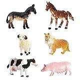 JZK 6 Conjunto animales juguete collie cerdo vaca caballo burro oveja, juguetes portátiles para el baño playset para niños regalo cumpleaños para niños pequeños chicos chicas niños