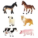 JZK 6 Conjunto animales juguete collie cerdo vaca caballo burro oveja,...