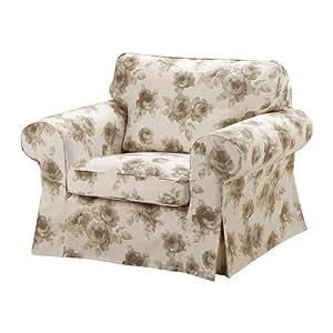 IKEA EKTORP - Housse de fauteuil, Norlida blanc, beige