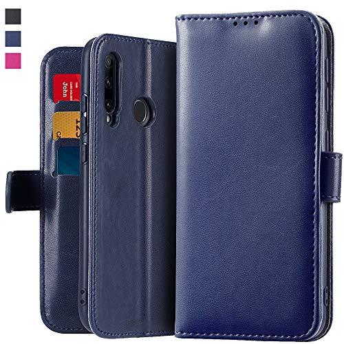 OJBKase Hülle für Huawei Honor 20 Lite, Premium Echtes Leder Klapphülle Slim Lederhülle mit [Standfunktion] [Kartenfach] [Magnetverschluss] Schlanke Ledertasche Handyhülle (Blau) -