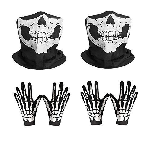 en Horror Gesichtsmaske, Neuheit Kinn Maske Skelett Geist Handschuhe Set für Halloween Kostüm Party ()