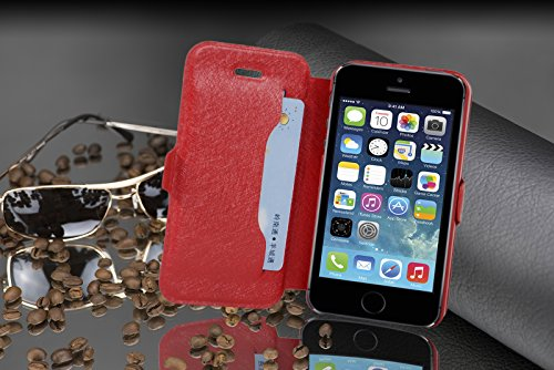 Cadorabo - Ultra Slim Book Style Cover for >            Apple iPhone 5 / 5S / SE            < with Card Slot and Stand Function - Etui Case Protection Skin in ICY-SCHWARZ ICY-ROT