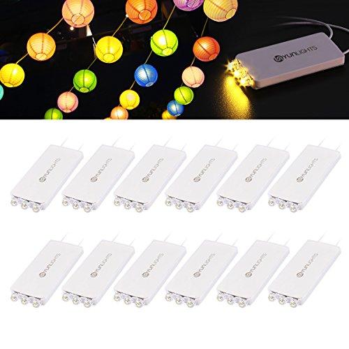 YUNLIGHTS 10Pack Warm Weiß LED Ballon Lichter mit 3 LEDs für Papierlaternen-Ballons Geburtstag Happy Birthday Hochzeitsdekoration, Wasserfest, Nicht-blinkend