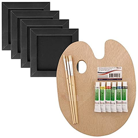 US Art Supply 14-Piece 3x3 Black Mini Canvas & Black Wood Frame Painting Set with 6-Color Acrylic Paint, Brushes & Wood Palette by US Art Supply