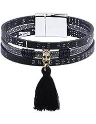 SUYA pulseras,3pcs, joyería, de acero de titanio cierre magnético, joyas con borlas, pulsera de acero inoxidable botón, pulsera creativa, joyería, regalos creativos , black