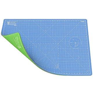ANSIO Schneidematte Selbstheilende A1 Doppelseitige 5 Schichten sassend für Kunst, Nähen - Imperial/Metric 34 x 22.5 Zoll / 89 x 59 cm-Himmelblau/Lime Grün