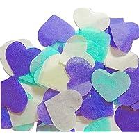 Herzform Konfetti zu werfen - Hochzeit Geburtstag Konfetti, für Hand Craft Violett Türkisblau Weiße (handgemacht Konfetti)
