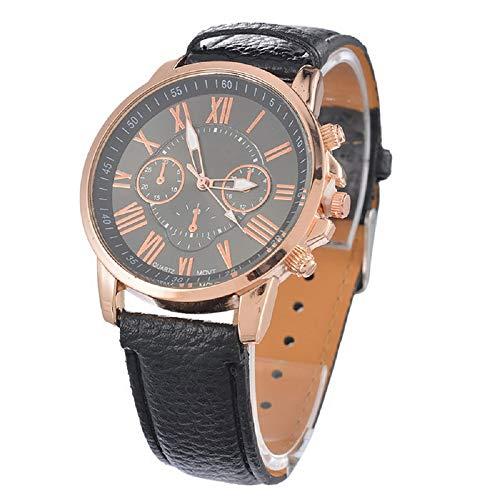 joyliveCY Dünne Armbanduhren mit analogen Quarz-Mode-PU-Lederband-Uhren - Schwarz