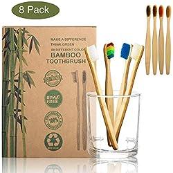 Xpassion Brosses à dents en bambou Pack de 8 pour toute la famille 100% Biodégradable | Blanchiment naturel des dents | Vegan Friendly | Poils souples infusés au charbon végétal