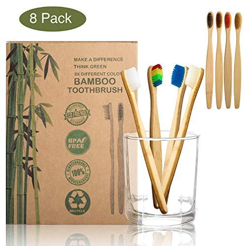 Bambus Zahnbürste mit reinem Bambus-Holz | 8er Set bunte Holzzahnbürste | Mundpfleger für Frischer Atem mit umweltfreundlicher Packung des Papiers