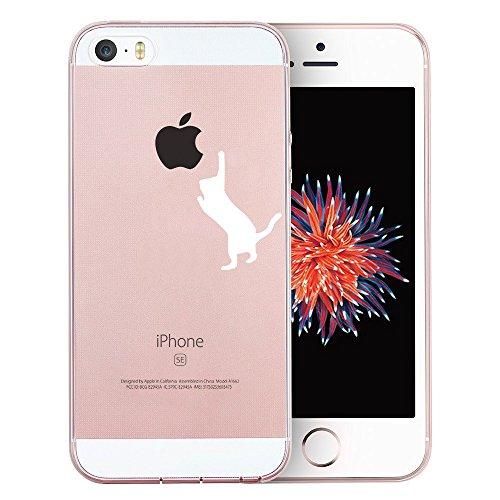 iPhone SE Hülle, TrendyBox Transparent Weiche TPU Ränder mit hartem PC Rückdeckel Schutzhülle Hülle für iPhone 5/5S/SE mit Gehärtetem Glas Displayschutzfolie (Sterne und Astronauten) 106