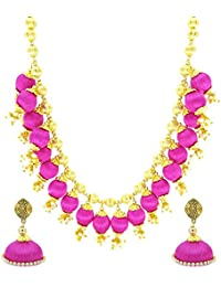 YouBella Jewellery Fashion Party Wear Silk Thread Necklace Set With Earrings For Women And Girls