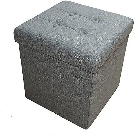 stylehome® Asiento banco Puff con caja soporte Banco taburete plegable Soporta Lino Selección de Colores Tamaño Selección 2638–21verde de gris