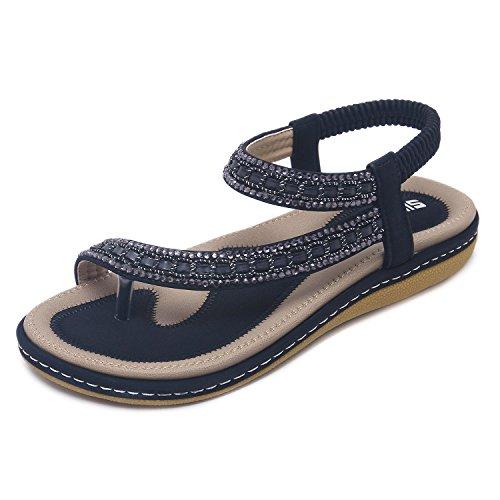 CARETOO Sandalias de Las Mujeres de Moda Más el Tamaño de Bohemia Sandalias Casuales Zapatos de Playa Sandalias Romanas Ladies Flip Flops