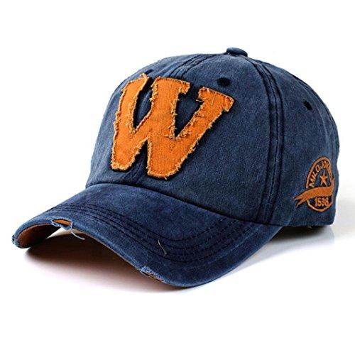 Cappellini con Visiera da baseball Hip-Hop Unisex, DoraMe Berretto mimetico da uomo e da donna estivi Le lettere W fanno il vecchio cappello (Blu)