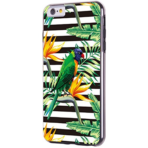iPhone 6 6S Plus 14 cm Fall, Hülle, Case True Color® Tropical Parrot & Blumen auf Streifen Slim Hybrid Hard Back + weich TPU Bumper Schutz Langlebig [True Schützen Serie] + kostenlosem Stylus und Disp schwarz