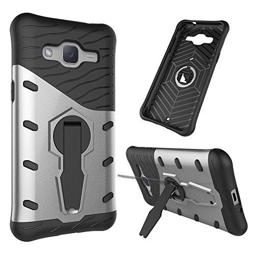 YHUISEN Galaxy J2 2015 Case, Hybrid Tough Rugged Dual Layer Rüstung Schild Schützende Shockproof mit 360 Grad Einstellung Kickstand Case Cover für Samsung Galaxy J2 2015 ( Color : Black ) Silver
