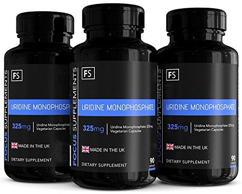 Uridinmonophosphat - 325 mg Vegetarische Kapseln - Verbessert die Kognitive Leistung | FÜR GEDÄCHTNIS & LERNEN | 90 Kapseln (FÜR 3 MONATE) - Focus Supplements - Aus ISO-zertifizierten Betrieben in GB (3 Flaschen)