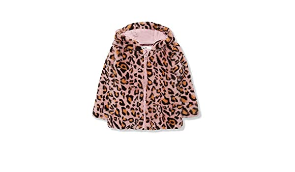 M/&Co Girls Leopard Print Faux Fur Coat with A Hood and Long Sleeves