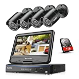 Sannce 8 CH 720P CCTV DVR Recorder with 4 PCS Day Night Weatherproof Security Cameras System with 1TB Hard Drive, Hybrid Video Recorder, HDMI Output, QR Code Scan Quick Access, Motion Detection, Email Notification