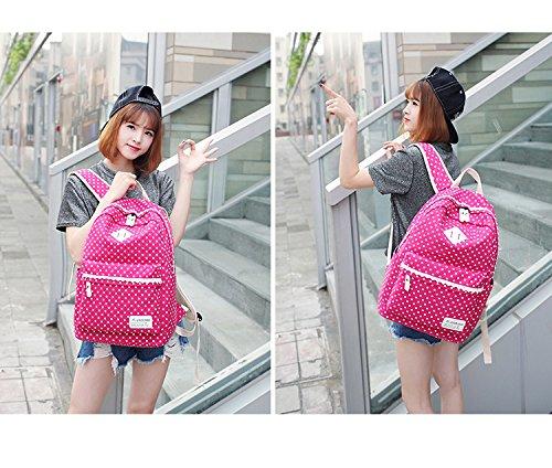 Spitze Geometrie Dot Lässige Leinwand Rucksack Reisetasche Laptop Tasche Schultasche Leichte Rucksäcke für Teen Junge Mädchen Rose rot