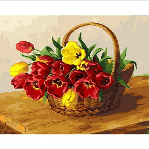 Rahmenloses Ölgemälde Nach Zahlen Malen Nach Zahlen Für Wohnkultur Ölbild 50 * 65 cm Rote Und Gelbe Tulpe -